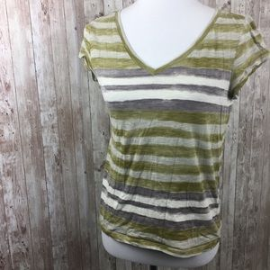 LOFT Green White Stripe Tee Shirt Top